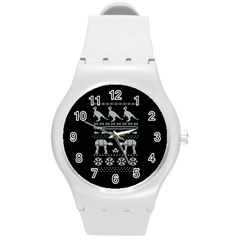Holiday Party Attire Ugly Christmas Black Background Round Plastic Sport Watch (m)