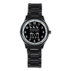 Holiday Party Attire Ugly Christmas Black Background Stainless Steel Round Watch