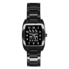 Holiday Party Attire Ugly Christmas Black Background Stainless Steel Barrel Watch