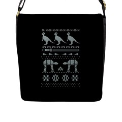 Holiday Party Attire Ugly Christmas Black Background Flap Messenger Bag (l)