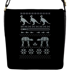 Holiday Party Attire Ugly Christmas Black Background Flap Messenger Bag (S)