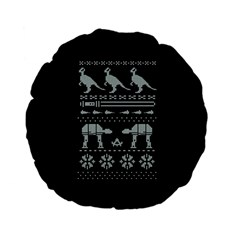 Holiday Party Attire Ugly Christmas Black Background Standard 15  Premium Flano Round Cushions