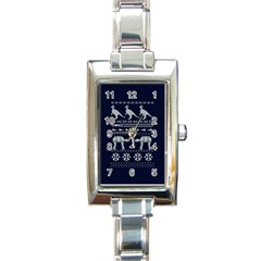 Holiday Party Attire Ugly Christmas Blue Background Rectangle Italian Charm Watch