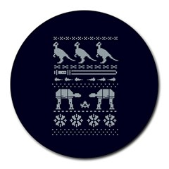 Holiday Party Attire Ugly Christmas Blue Background Round Mousepads