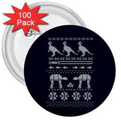 Holiday Party Attire Ugly Christmas Blue Background 3  Buttons (100 pack)