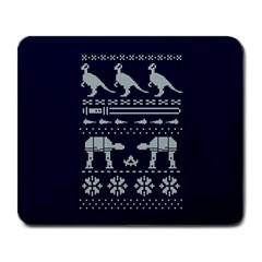 Holiday Party Attire Ugly Christmas Blue Background Large Mousepads