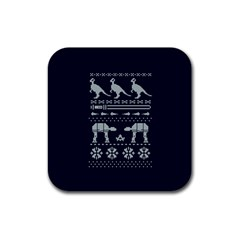 Holiday Party Attire Ugly Christmas Blue Background Rubber Coaster (Square)
