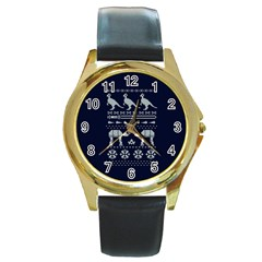 Holiday Party Attire Ugly Christmas Blue Background Round Gold Metal Watch
