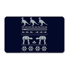 Holiday Party Attire Ugly Christmas Blue Background Magnet (Rectangular)