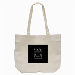 Holiday Party Attire Ugly Christmas Blue Background Tote Bag (Cream)
