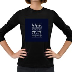 Holiday Party Attire Ugly Christmas Blue Background Women s Long Sleeve Dark T Shirts