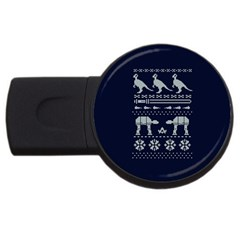 Holiday Party Attire Ugly Christmas Blue Background USB Flash Drive Round (4 GB)