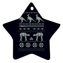 Holiday Party Attire Ugly Christmas Blue Background Star Ornament (Two Sides)