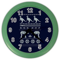 Holiday Party Attire Ugly Christmas Blue Background Color Wall Clocks