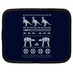 Holiday Party Attire Ugly Christmas Blue Background Netbook Case (Large)