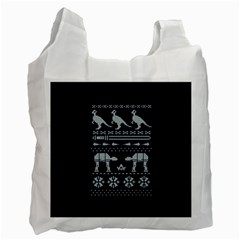 Holiday Party Attire Ugly Christmas Blue Background Recycle Bag (One Side)