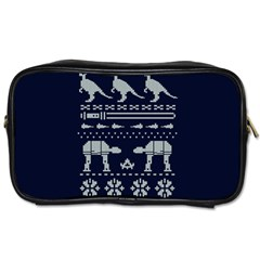 Holiday Party Attire Ugly Christmas Blue Background Toiletries Bags