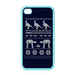 Holiday Party Attire Ugly Christmas Blue Background Apple Iphone 4 Case (color)