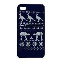 Holiday Party Attire Ugly Christmas Blue Background Apple iPhone 4/4s Seamless Case (Black)