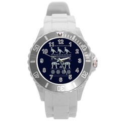 Holiday Party Attire Ugly Christmas Blue Background Round Plastic Sport Watch (L)