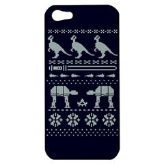 Holiday Party Attire Ugly Christmas Blue Background Apple iPhone 5 Hardshell Case