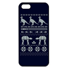 Holiday Party Attire Ugly Christmas Blue Background Apple iPhone 5 Seamless Case (Black)