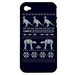 Holiday Party Attire Ugly Christmas Blue Background Apple Iphone 4/4s Hardshell Case (pc+silicone)