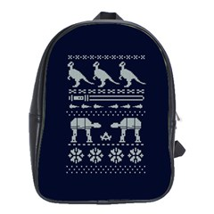 Holiday Party Attire Ugly Christmas Blue Background School Bags (XL)