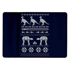 Holiday Party Attire Ugly Christmas Blue Background Samsung Galaxy Tab 10.1  P7500 Flip Case