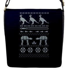 Holiday Party Attire Ugly Christmas Blue Background Flap Messenger Bag (s)