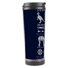 Holiday Party Attire Ugly Christmas Blue Background Travel Tumbler