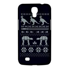 Holiday Party Attire Ugly Christmas Blue Background Samsung Galaxy Mega 6.3  I9200 Hardshell Case