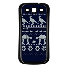Holiday Party Attire Ugly Christmas Blue Background Samsung Galaxy S3 Back Case (black)
