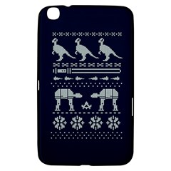 Holiday Party Attire Ugly Christmas Blue Background Samsung Galaxy Tab 3 (8 ) T3100 Hardshell Case