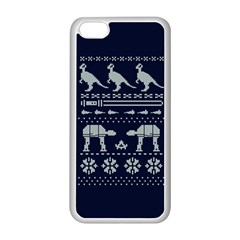 Holiday Party Attire Ugly Christmas Blue Background Apple iPhone 5C Seamless Case (White)