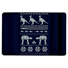 Holiday Party Attire Ugly Christmas Blue Background iPad Air Flip