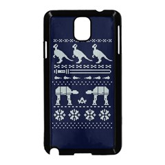 Holiday Party Attire Ugly Christmas Blue Background Samsung Galaxy Note 3 Neo Hardshell Case (Black)