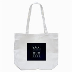 Holiday Party Attire Ugly Christmas Blue Background Tote Bag (white)