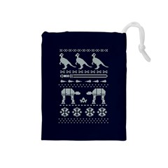 Holiday Party Attire Ugly Christmas Blue Background Drawstring Pouches (medium)