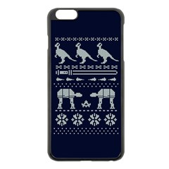 Holiday Party Attire Ugly Christmas Blue Background Apple Iphone 6 Plus/6s Plus Black Enamel Case