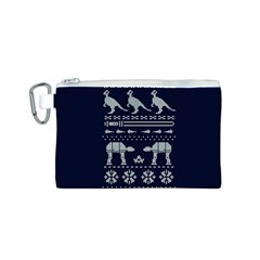 Holiday Party Attire Ugly Christmas Blue Background Canvas Cosmetic Bag (s)