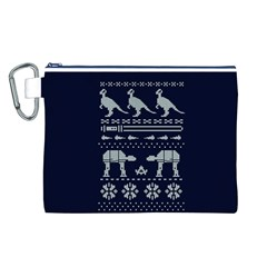 Holiday Party Attire Ugly Christmas Blue Background Canvas Cosmetic Bag (L)