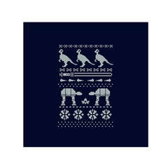 Holiday Party Attire Ugly Christmas Blue Background Small Satin Scarf (Square)
