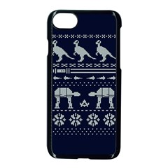 Holiday Party Attire Ugly Christmas Blue Background Apple Iphone 7 Seamless Case (black)