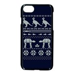 Holiday Party Attire Ugly Christmas Blue Background Apple iPhone 7 Seamless Case (Black) Front