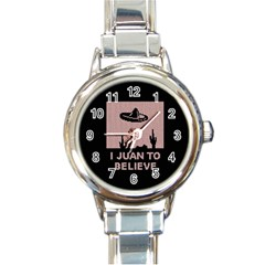I Juan To Believe Ugly Holiday Christmas Black Background Round Italian Charm Watch
