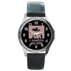 I Juan To Believe Ugly Holiday Christmas Black Background Round Metal Watch