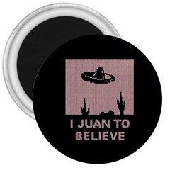 I Juan To Believe Ugly Holiday Christmas Black Background 3  Magnets