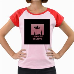 I Juan To Believe Ugly Holiday Christmas Black Background Women s Cap Sleeve T Shirt