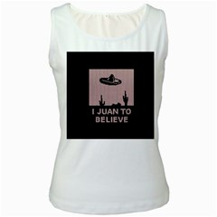 I Juan To Believe Ugly Holiday Christmas Black Background Women s White Tank Top